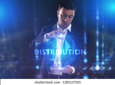 The concept of business, technology, the Internet and the network. A young entrepreneur working on a virtual screen of the future and sees the inscription: Distribution