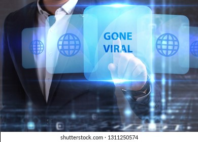The concept of business, technology, the Internet and the network. The young entrepreneur has found what he needs: Gone viral