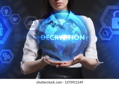 The concept of business, technology, the Internet and the network. A young entrepreneur working on a virtual screen of the future and sees the inscription: Decryption