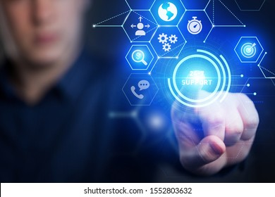 The concept of business, technology, the Internet and the network. A young entrepreneur working on a virtual screen of the future and sees the inscription: 24-7 support