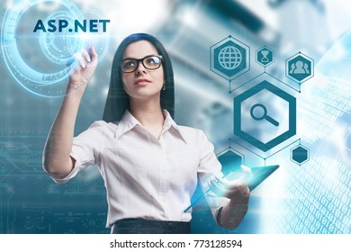 The concept of business, technology, the Internet and the network. A young entrepreneur working on a virtual screen of the future and sees the inscription: ASP.NET