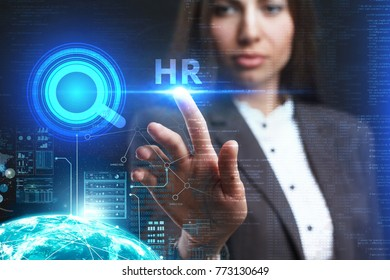 The concept of business, technology, the Internet and the network. A young entrepreneur working on a virtual screen of the future and sees the inscription: HR
