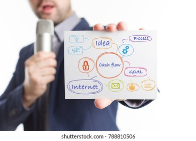 The concept of business, technology, the Internet and the network. Young businessman showing inscription: Cash flow