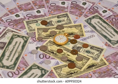 The concept of business time is money. Banknotes, coins and pocket watches