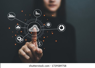Concept of business women, hands on technology, digital data storage Cloud technology and data exchange around the world.