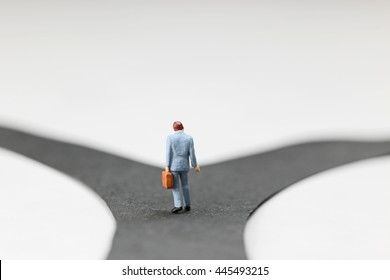 Concept of businessman choosing the way