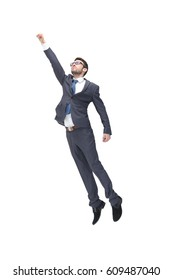 Concept of a businessman like super hero. Isolated on white background