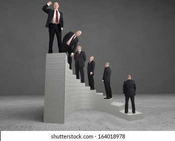 concept Businessman reaching the top