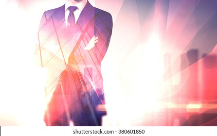 Concept businessman wearing modern suit with his arms crossed. Double exposure. Horizontal, visual effects, flares. Skyscraper background