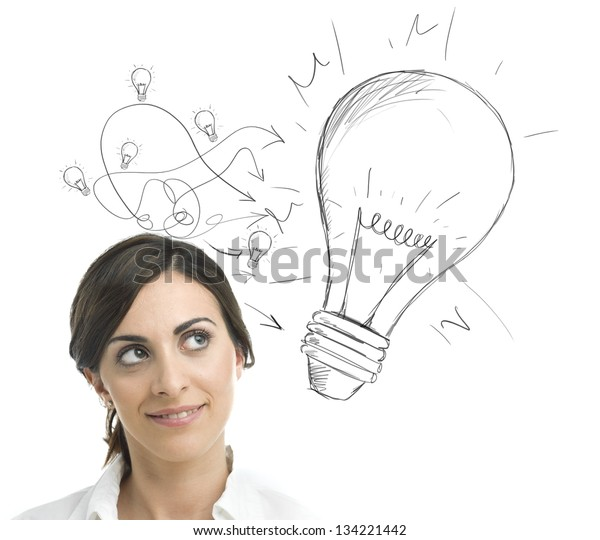 Concept of a businesswoman with a big idea