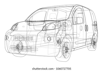Concept car blueprint 3d illustration wireframe stock illustration concept car blueprint 3d illustration wire frame style malvernweather Choice Image
