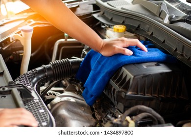 Concept Car care,Cleaning car engine.