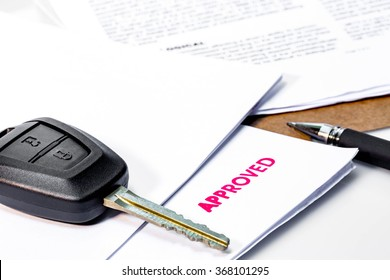 Concept : Car Rent or Car Loan Approved on white background