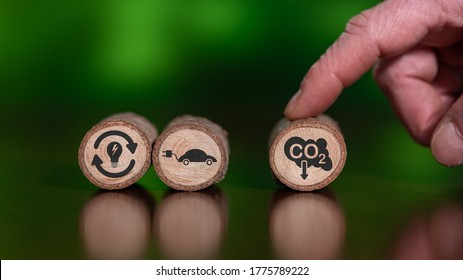 Concept of carbon reduction on wooden logs