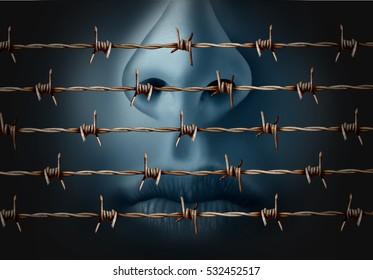 Concept of censorship and freedom of speech suppression in expression of ideas icon as a human behind in old barbed wire as a metaphor for depression and social isolation in a 3D illustration style.
