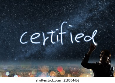 Concept of certified, silhouette asian business woman light drawing.