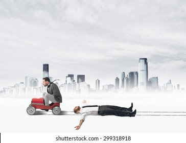 Concept of challenge with a ruthless businessman that  invests a colleague