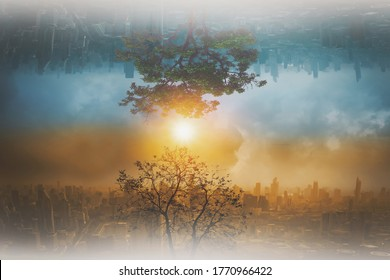 Concept changes in natural environment and climate of the world and global warming, trees that grow and are dry abstract upside down cityscape with sky background,and variable weather conditions