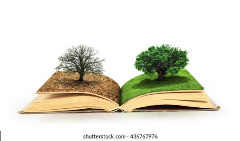 Concept of changes. Open book. One side full of grass with a life tree, different side is desert with a dead tree. Concept of doubleness. Isolated on white background.