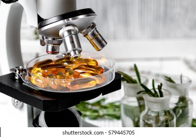 concept - check dietary supplements in petri dish at laboratory