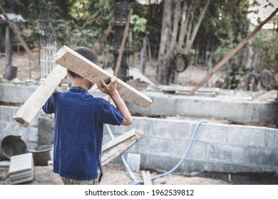 The concept of child labor, Poor children are forced to work in construction, Violence children and trafficking concept,  Rights Day,  World Day Against Child Labour concept