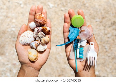 Concept of choice: save nature or continue to use disposable plastic. One hand holding beautiful shells, in the other - plastic waste. Beach sand on background. Environmental pollution problem.