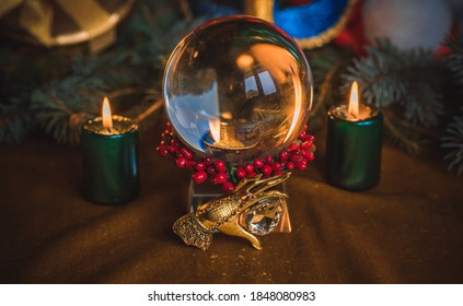 Concept of Christmas divination predictions on tarot cards, magical ball and other magic
