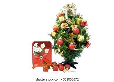 Concept of christmas festival to show by gift, pine, red ball and golden bell