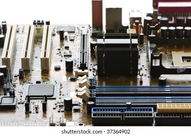 Concept of cityscape. Computer part: circuit board close-up.