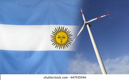 Concept clean energy with flag of Argentina merged with wind turbine in a blue sunny sky