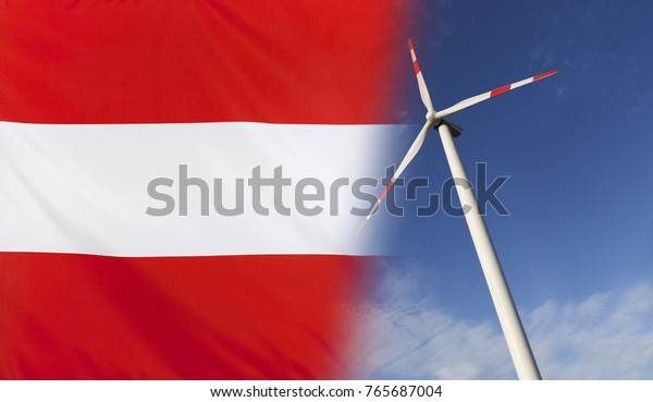 Concept clean energy with flag of Austria merged with wind turbine in a blue sunny sky