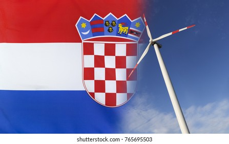 Concept clean energy with flag of Croatia merged with wind turbine in a blue sunny sky