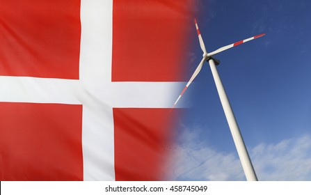 Concept clean energy with flag of Denmark merged with wind turbine in a blue sunny sky