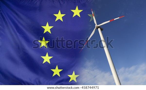 Concept clean energy with flag of Europe merged with wind turbine in a blue sunny sky