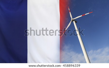 Concept clean energy with flag of France merged with wind turbine in a blue sunny sky