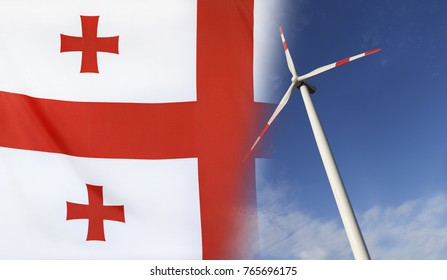 Concept clean energy with flag of Georgia merged with wind turbine in a blue sunny sky