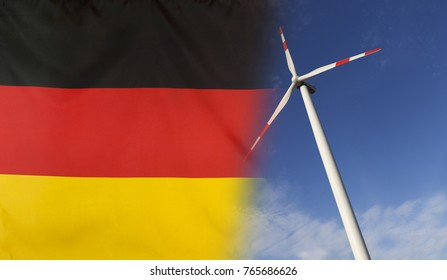 Concept clean energy with flag of Germany merged with wind turbine in a blue sunny sky