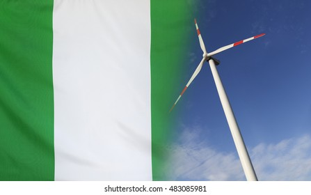 Concept clean energy with flag of Nigeria merged with wind turbine in a blue sunny sky