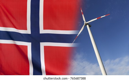 Concept clean energy with flag of Norway merged with wind turbine in a blue sunny sky