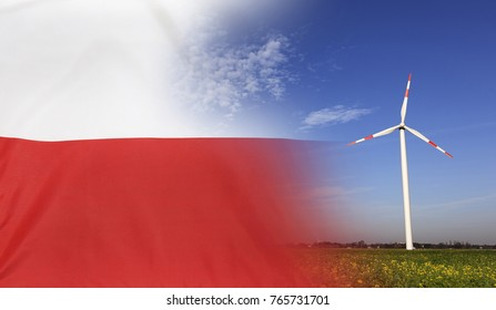 Concept clean energy with flag of Poland merged with wind turbine in a blue sunny sky and green grass with flowers