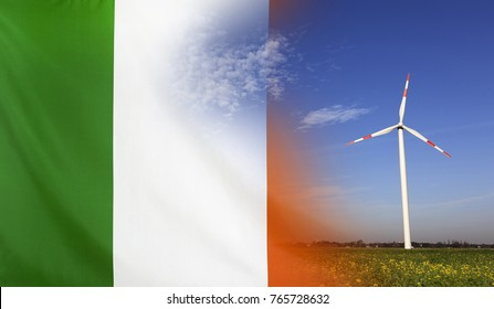 Concept clean energy with flag of Republic of Ireland merged with wind turbine in a blue sunny sky and green grass with flowers