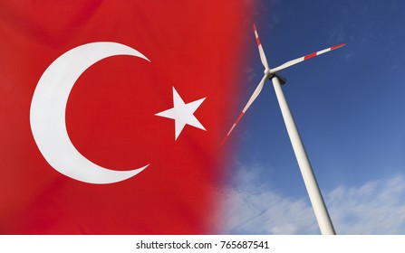 Concept clean energy with flag of Turkey merged with wind turbine in a blue sunny sky