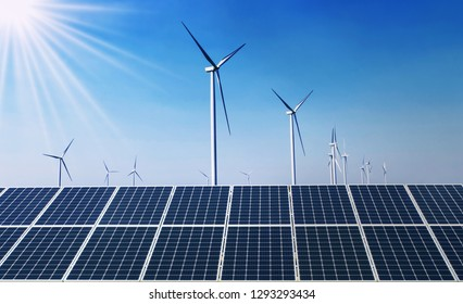 concept clean energy power in nature. solar panel with wind turbine and blue sky background
