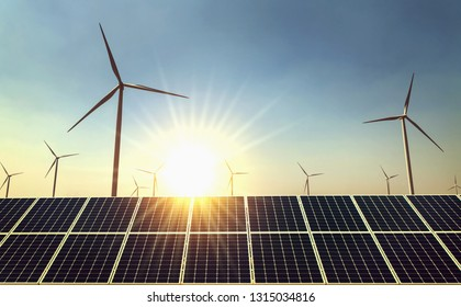 concept clean energy power in nature. solar panel and wind turbine with sun background