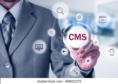 The concept of cms content management system website administration.