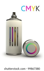 concept CMYK spray can isolated on white background 3d High resolution.