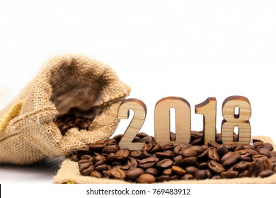 concept coffee beans for 2018. happy new year 2018. coffee 2018 year