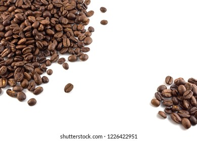 Concept of coffee beans with copy space for text or logo. Isolated.