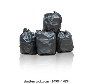 Concept of collecting waste for recycling.Black Plastic Bags for garbage, Bins Big Stack,Trash Pile isolated with clipping path on white background