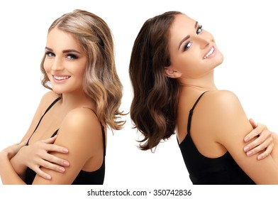 Concept Coloring Hair.Brunette and blonde